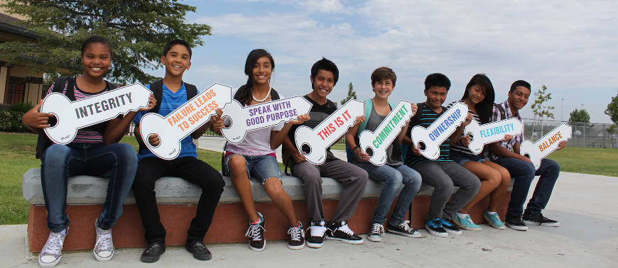 Kids holding the 8 Keys